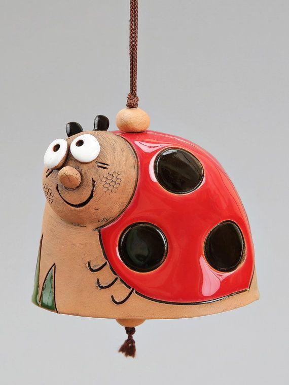 Ceramic Animal Bells : Bee Ladybird Frog Snail. by Molinukas