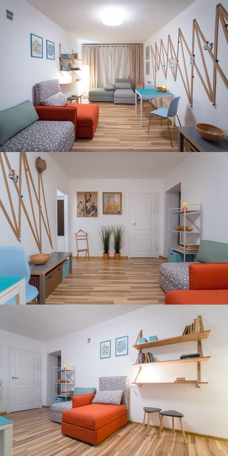 Salon couchsurfingowy. Otwarta przestrzeń integracyjna z opcjami indywidualnym zajęciom z funkcją spania dla kilku osób.