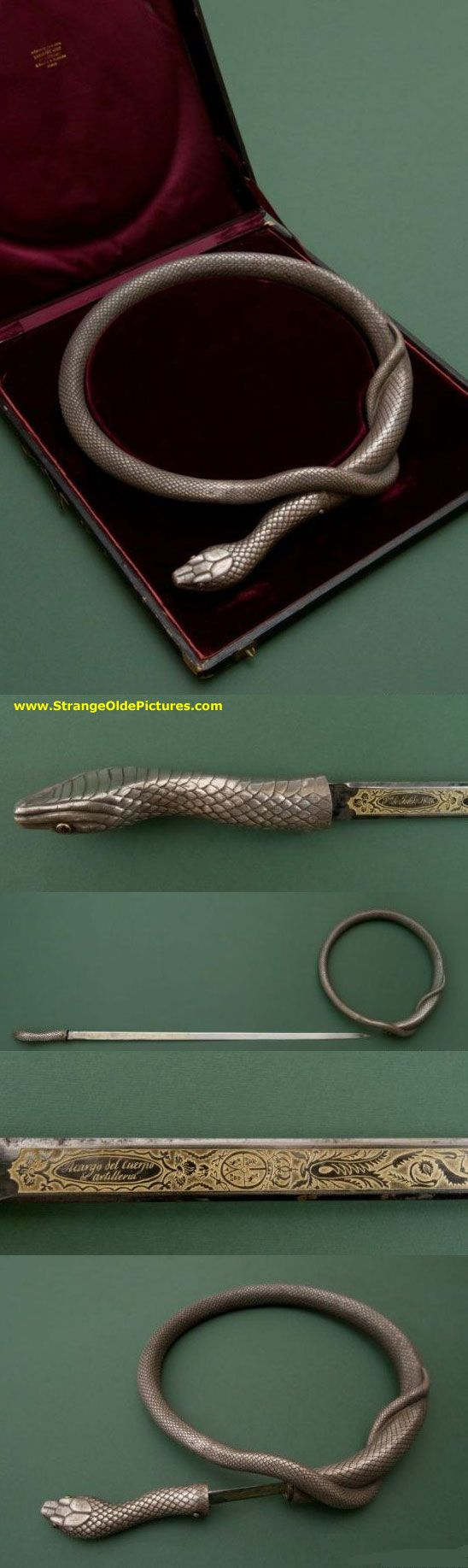 SECRET SWORD HIDDEN IN 'SNAKE' NECKLACE. The Silver handle is made in the form of the forward section of the body and head of a poisonous snake with the eye inserts created from pink glass. In the lower part of the handle is the lock spring, which fixes the blade in the scabbard. Silver scabbards are prepared in the form of the snake.