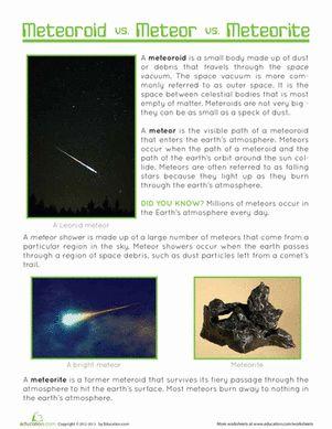 Fifth Grade Earth & Space Science Worksheets: Meteor, Meteorite, Meteoroid