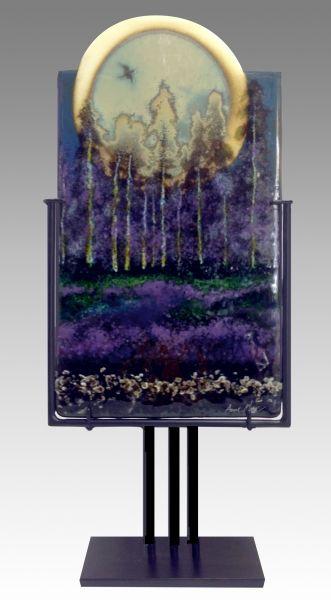 """Harvest Moon by Anne Wren Nye 27"""" x 10"""" Kiln Glass Table Art $1,600"""