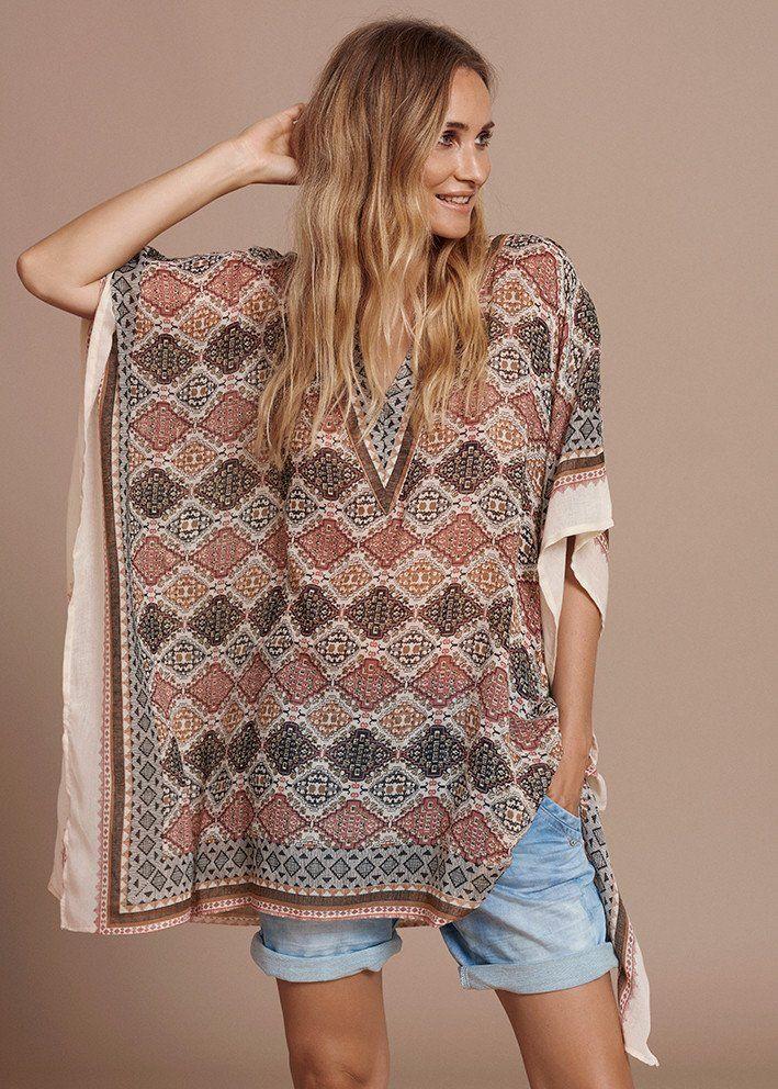 Printet Kimono 10400714 Cream Blenda kaftan - sun brown