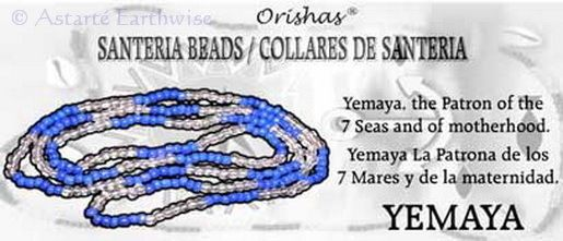 SANTERIA BEAD NECKLACE YEMAYA BLUE & CLEAR Wicca Witch Pagan Goth ORISHAS
