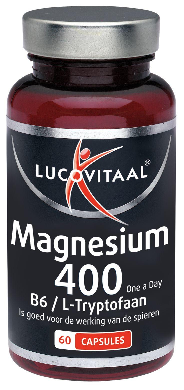 Lucovitaal Voedingssupplementen Magnesium 400 Capsules B6/L-Tryptofaan 60Caps  Deze formule bevat 400 mg Magnesium per capsule. Magnesium speelt een rol bij het behouden van soepele spieren en bij de botaanmaak. Tevens heeft het een positieve invloed op de werking van het zenuwstelsel en draagt het bij aan de geestelijke veerkracht. Daarnaast bevat deze formule L-Tryptofaan en Vitamine B6. Vitamine B6 helpt vermoeidheid te verminderen.Lucovitaal Magnesium 400 B6/L-Tryptofaan. Gebruik: 1 maal…