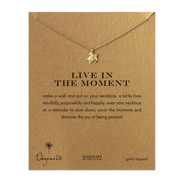 live in the moment sea turtle necklace,  gold dipped