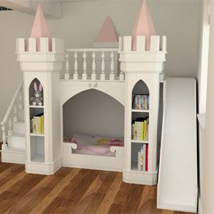 Luxury princess castle bed is exclusive to Bedroom Design Inspirations Designed and manufactured to order by ourselves Available with an upstairs play area, bunk beds and princess themed storage.