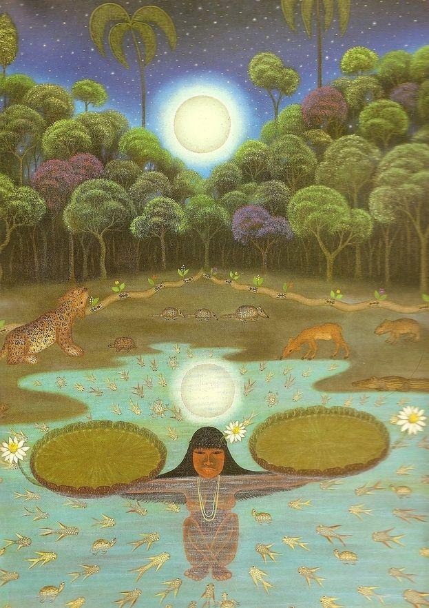 Lenda da vitória-régia   Lenda brasileira de origem indígena tupi-guarani. Há muitos anos antes de Cristo, em uma tribo indígena, contava-se que a lua (Jaci, para os índios) era uma deusa que ao despontar a noite, beijava e enchia de luz os rostos das mais belas virgens índias da aldeia - as cunhantãs-moças. Sempre que ela se escondia atrás das montanhas, levava para si as moças de sua preferência e as transformava em estrelas no firmamento.