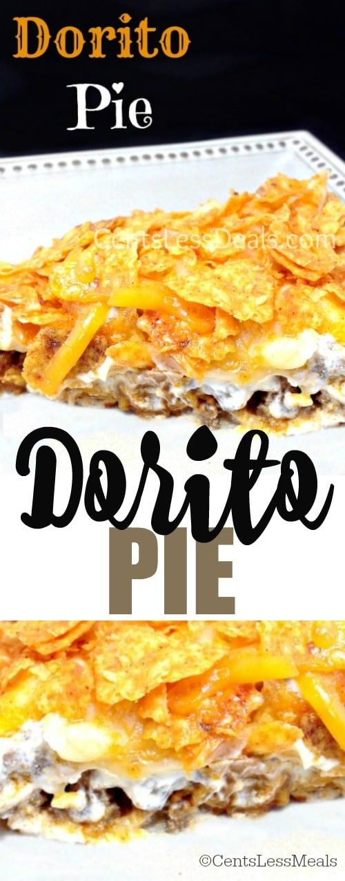 Dorito Pie is a delicious twist on tacos! Spicy beef, sour cream and cheese topping a crescent roll crust!
