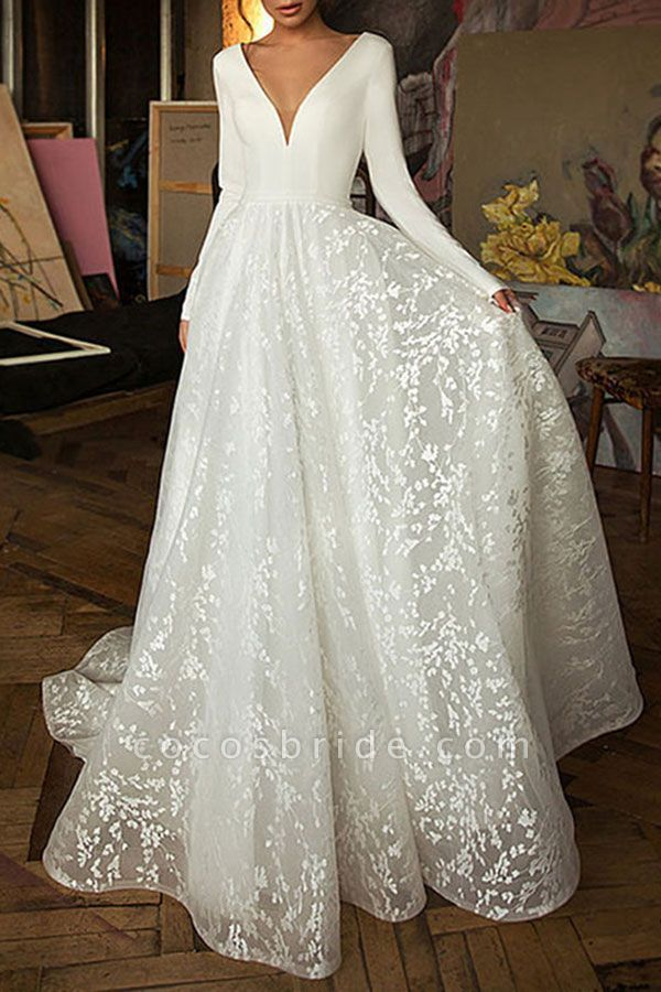 Elegant Appliques V Neck Tulle A Line Wedding Dress Long Sleeve Wedding Dress Lace Sheath Wedding Dress Lace Lace Wedding Dress With Sleeves