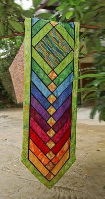 Stained Glass French Braid table runner at Quilts n Calicoes