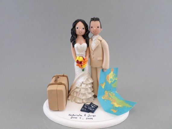 Customized Travel Theme Wedding Cake Topper by mudcards on Etsy, $149.00