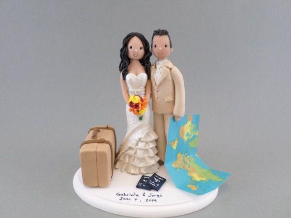 Voyage personnalisé thème Wedding Cake Topper