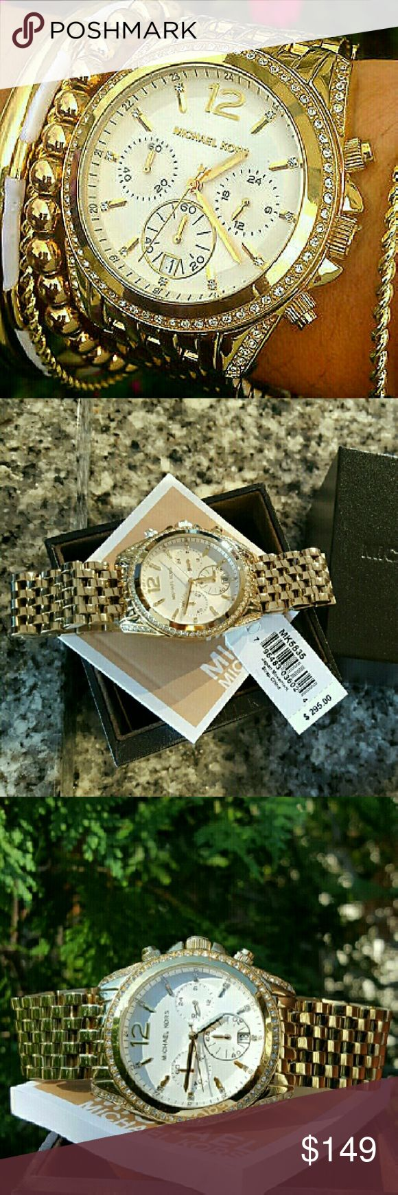 Michael Kors gold Pressley bracelet watch MK5835 Last 1!  Guaranteed Authentic MK5835  * Model: Pressley  * Retail: $295  * Gold stainless steel band  * Mother of pearl chronograph glitz dial  *New with Michael Kors watch case and owners booklet included  * 39mm  * 10 ATM  * UPC: 796483036924  * WHAT A BEAUTY!  * No trades, buy now or offer only. Shipped same business day Michael Kors Accessories Watches