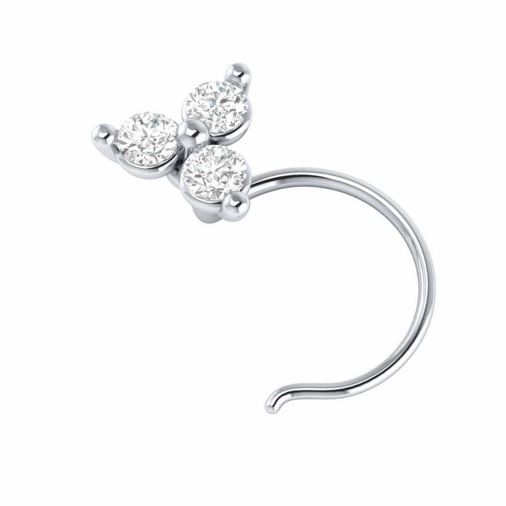 5mm Diamond Big Flower Solid 925 Silver Stud Nose Ring Pin Stud Piercing Jewelry