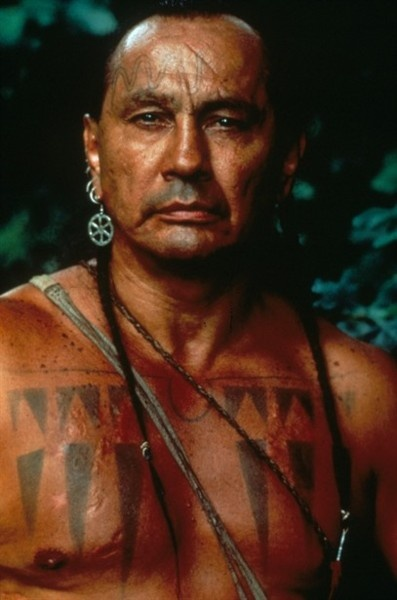 Russell Means. Actor-activist- leader. This photo from ..Chingachgook - The Last of the Mohicans - The L.A. Times has called him the most famous American Indian since Sitting Bull and Crazy Horse-  http://www.russellmeans.com/