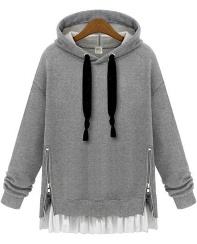 Grey Hooded Long Sleeve Zipper Loose Sweatshirt -SheIn(Sheinside) Mobile Site