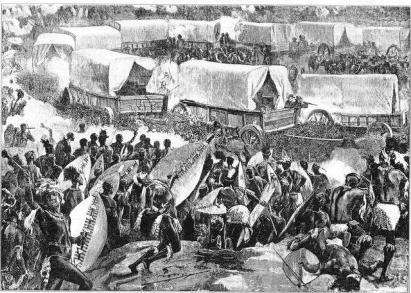 Artist's impression of the Battle of Blood River, in which the Boers won victory over the Zulus in recompense for the massacre of Piet Retief and company.