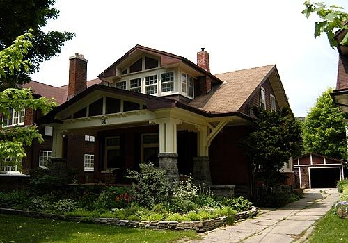 Craftsman Bungalow in Kitchener Ontario - The Bungalow style is an American invention, popularized in California in the early 20th century. It was brought to Canada in the early 1910s.