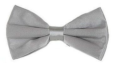 Silver Silk Bow Ties