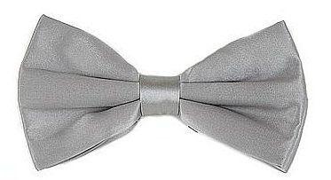 Silver Silk Bow Ties