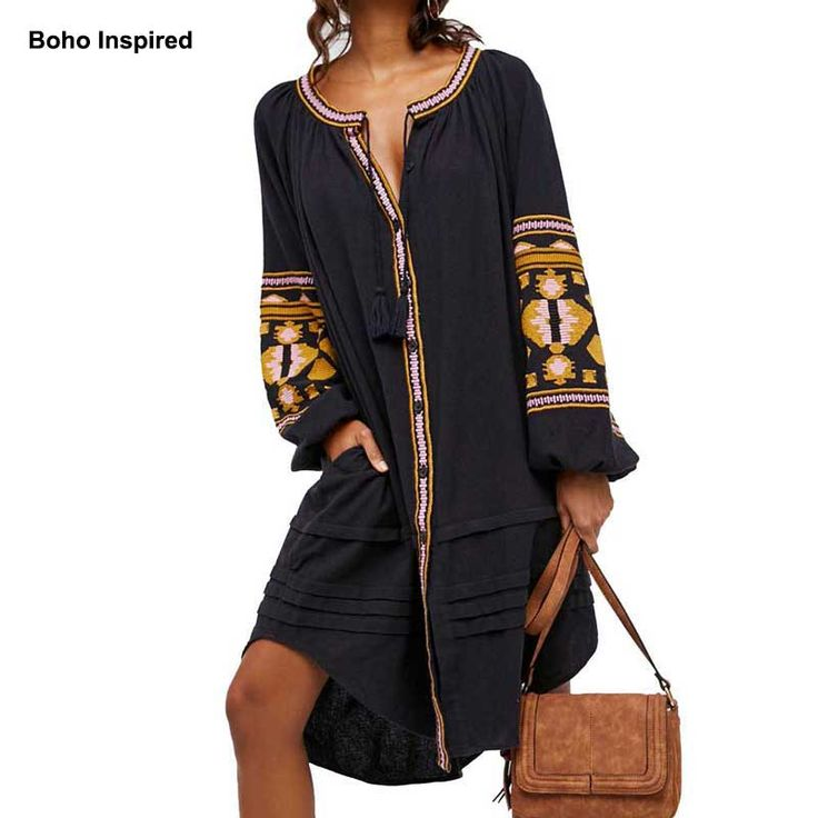 2017 boho style women long blouse black maxi blouse shirt lantern embroiderd sleeve tassel plus size brand hippie clothing