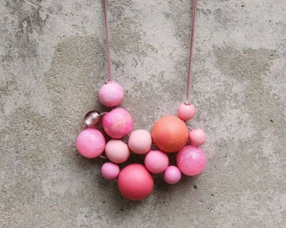 Pink bib necklace bubble bead necklace statement by LeafFeather