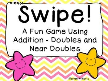 Freebie! Are you practicing mental math skills?  Swipe!  is a great game to use with your students to practice those mental math skills.  This version has all the addition doubles facts (0 - 9) and the near doubles facts.  It's easy to play the game!  Students will make a stack of the addition doubles and near doubles equations facing down and spread all the answers out so everyone can reach them.