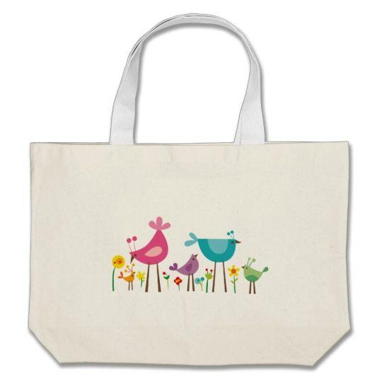 birds wildflowers 2 large tote bag