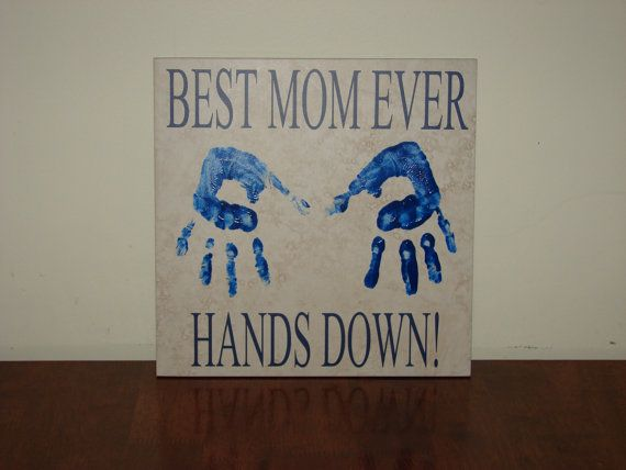 Best Mom Ever Hands Down Decorative Tile With Vinyl Words