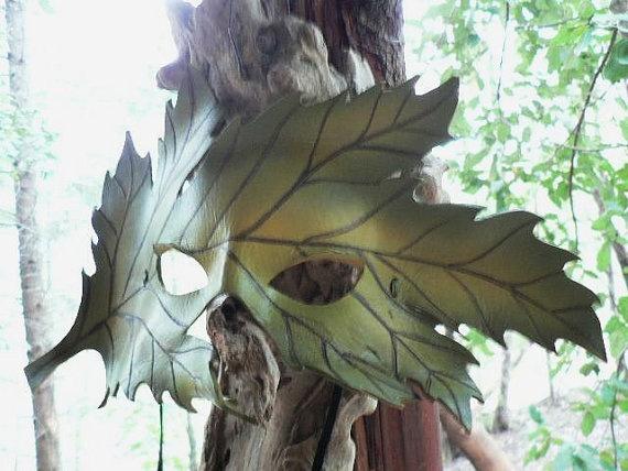 Spring, mother nature costume, bright green leaf leather mask, Spring time Greenman mask