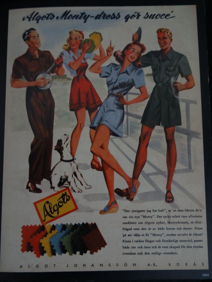 """Algots Monty-dress gör succé"" Algot Johansson A.- B. Borås I 1945"