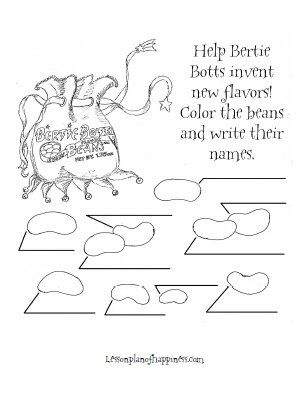 Harry Potter Worksheet: Create your own Bertie Bott's flavor! kids plus colouring=happy