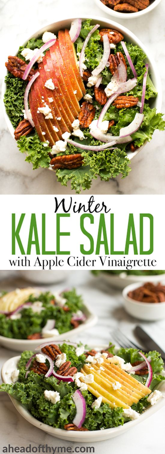 Cozy winter kale salad with apple cider vinaigrette is easy to make with crispy apples, tangy goat cheese and crunchy spiced pecans in under 10 minutes! | aheadofthyme.com via @aheadofthyme
