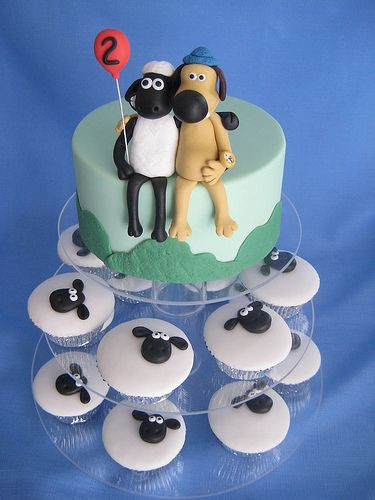 Shaun the Sheep cake!  We need to watch some Wallace and Gromit this summer...