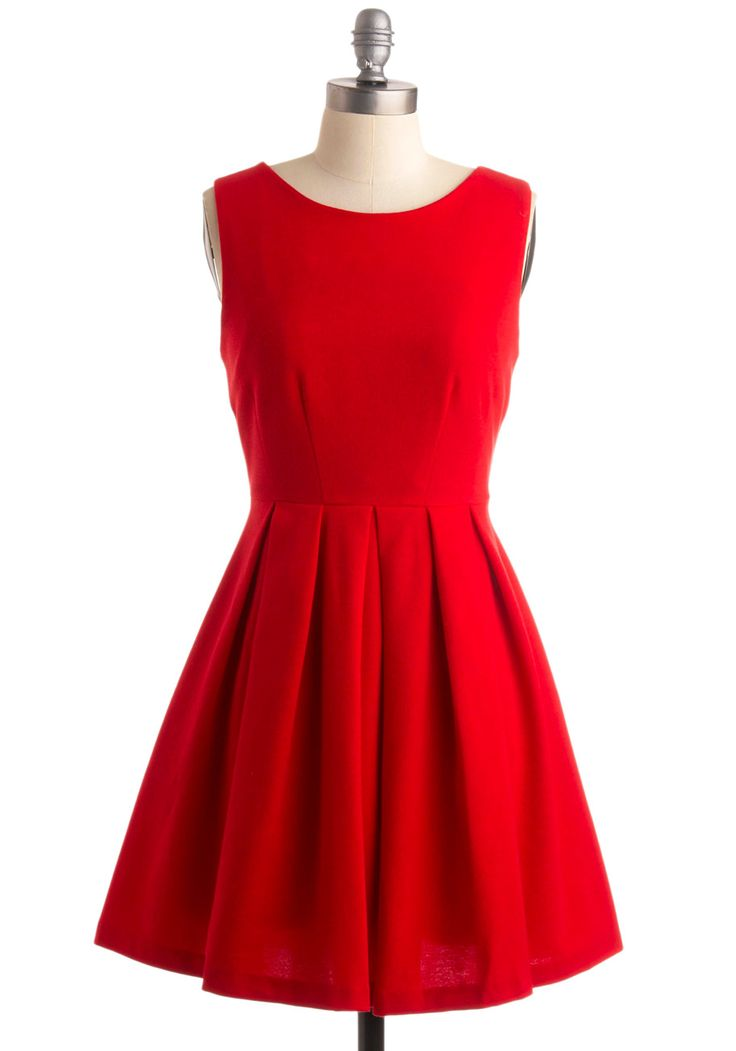 Cue the Compliments Dress. Standing on the side of the stage, looking oh-so adorable, you crack up at the comedian with a constant stream of chuckles that jostle the pleats of this dress' skirt, waiting for your indication. #red #wedding #bridesmaid #modcloth