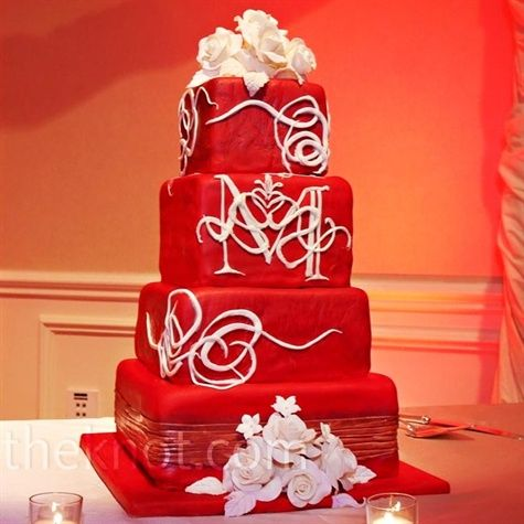 red!: Red Monograms, Red Wedding Cakes, Squares Wedding Cakes, Gorgeous Cakes, Tiered Cakes, Bold Color, Wedding Photo, Monograms Cakes, White Wedding Cakes
