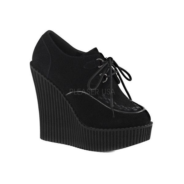 Women's Demonia Creeper 302 Wedge Oxford ($63) ❤ liked on Polyvore featuring shoes, oxfords, black, casual, casual shoes, lace up oxfords, high heel oxfords, wedges shoes, platform shoes and black shoes