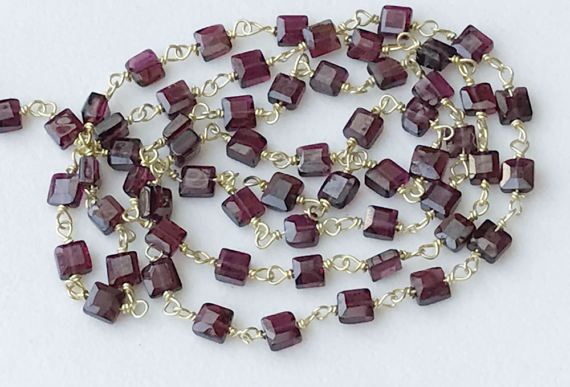 Garnet Faceted Flat Box Beads Connector Chains in by gemsforjewels