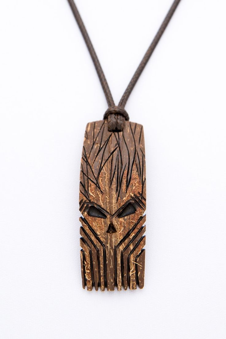 "Coconut shell Pendant ""The Mask"" gift for him african pendant wood carving mask pendant brown pendant orange pendant hand carved art pe - $48.00 USD"