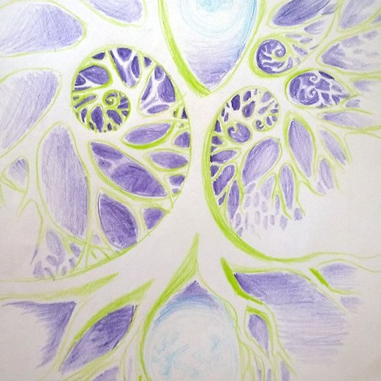 Abstract cosmic tree fractal drawing