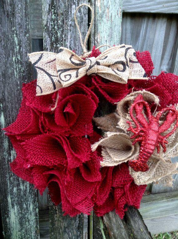 Small burlap wreath 11x11 with a Cajun flair by mydecor8 on Etsy, $20.00