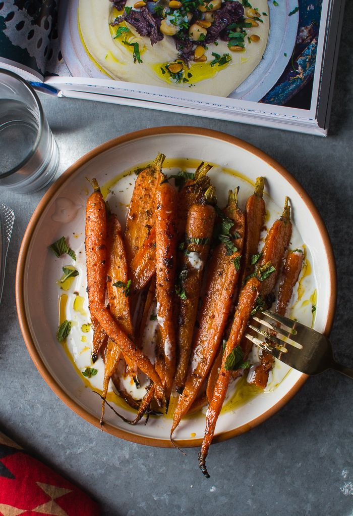 Flourishing Foodie: Harissa Roasted Carrots with Yogurt, Lemon, and Mint