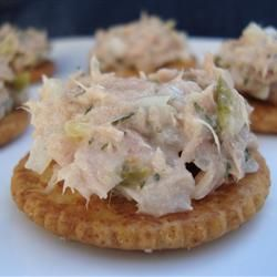 Tuna Fish Salad: 4 cans of 4 oz white tuna, 1/2 cup mayo, 1/2  cup onion, 1/2 cup celery, 2 T sweet relish, 1/4 of each salt and pepper, 1/2 tsp of garlic powder, 1 1/2 T of lemon juice