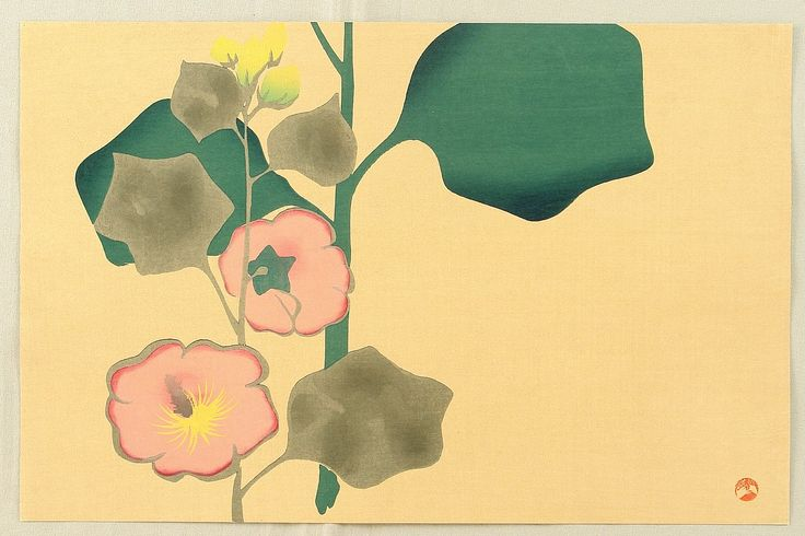 Ogata Korin After  Title:Holyhock  Date:Originally in Edo era. This print was made probably in 1930s.