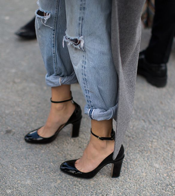 Black patent heels round toe continental block heel ankle strap.