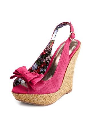 pink:)Shoes, Bows Slingback, Style, Cute Wedges, Flirty Wedges, Charlotte Russe, Raffia Wedges, Affordable Fashion, Slingback Raffia