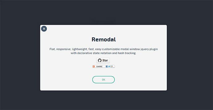 remodal - Flat, responsive, lightweight, easy customizable modal window plugin with declarative state notation and hash tracking.