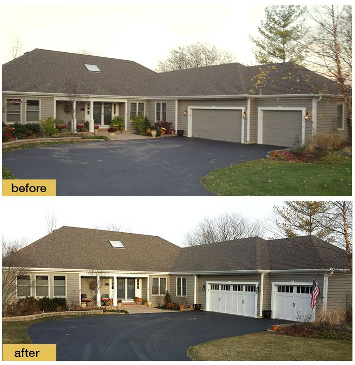 159 best images about before and after exterior makeovers for Ranch house garage doors