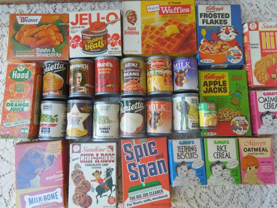 Vintage 1970's Toy Food 28 Pieces Grocery Store - Seriously, these were among my favorite things to play with as a kid!