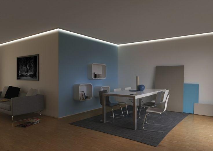 iluminacion indirecta led salon en el techo
